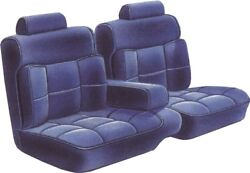 1987-88 Monte Carlo Cl Cloth Blue 55/45 Bench With Armrest Seat Cover - Pui