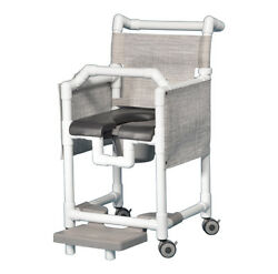 SHOWER  CHAIR COMMODE - DELUXE SOFT SEAT, LAP BAR, FOOTREST, PRIVACY SKIRT