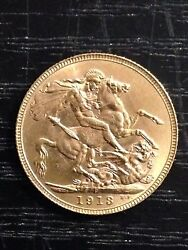 1913 And039pand039 Full Sovereign St George Reverse George V Gold Coin Perth High Grade