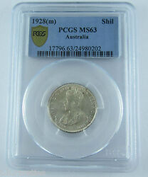 1928 Aust Shilling. A Choice Uncirculated Coin Pcgs Ms63. Very Scarce Coin