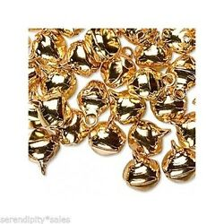 Lot 500 Gold Jingle Bells Metal Beads Charms Drops 10-12mm Approx 3/8 -1/2