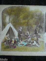 Sta032 Camping Tente Couleur Colorisé 1894 Stereo Photographie Stereoview