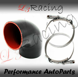 Black Elbow 3 76mm 4-ply Silicone Coupler Hose Turbo Intake Intercooler Caddy