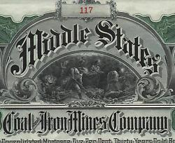Usa Middle States Coal And Iron Gold Bond Stock Certificate 1906