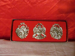 3 Silver Plated Christmas Angel Ornaments By Gorham