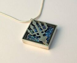 Sterling Silver Roman Glass Judaica Necklace Holy Temple Menorah Square Pendant