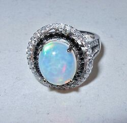 14k White Gold And 12mm Opal Ring With Black And White Diamonds Size 7
