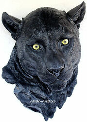 BLACK PANTHER HEAD WALL MOUNT STATUE