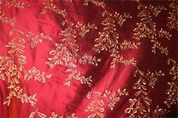 Embroidered Silk Dupioni Hollywood And Vine Collection Garnet - 54 Wide