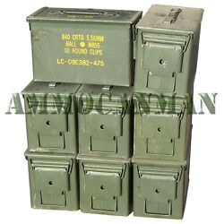 8-PACK! EIGHT 50 CAL GRADE 1 AMMO CANS M2A1 5.56 EMPTY AMMUNITION CANS