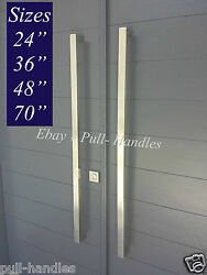 Entrance Entry Door Pull Push Square Long Handle 304 Stainless Steel Modern