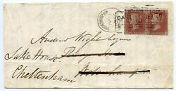 1855 redirect cover with CASTLE STREET Scots Local + WOLVERHAMPTON spoon cancel