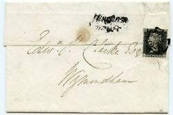 Rare 1840 Cover From Norfolk With 1d Black Pl. 9 Ge Placed As A Seal On Reverse