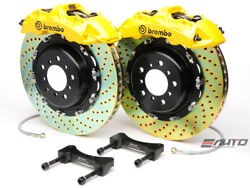Brembo Front GT Brake BBK 6pot Yellow 380x32 2pc Drill Disc Rotor Mustang 05-13