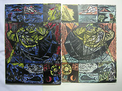 1960s Original Irving Amen Painted Woodcut Plate Creation And Corresponding Print