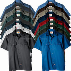 Work Shirts Men Short Sleeve Button Front Shirt 1574 Ws574 Solid Color