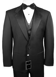 Sizes 35-64 Long. 6-piece Complete Tuxedo Package With Flat Front Pants And Vest