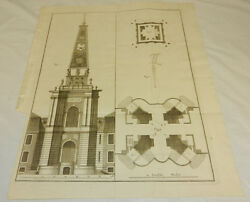 Mid-1700s Antique Print/s.p.q.g. Building Architecture And Layout