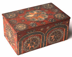 Antique Polychrome Painted Box Coffret Casket Early 19th C. Or Earlier 5