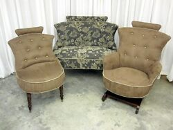 Antique Settee, Rocker And Chair Hollywood Regency Style New Upholstery Xtra Nice