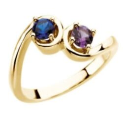 Custom Made Two-stone Mothers Ring In 14 Kt Yellow Gold Choose Your Stones