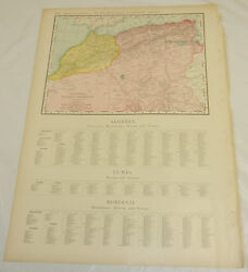 1908 Rand Mcnally Map Of Algeria Tunis Morocco/large 14x20.5 Format/ W/index