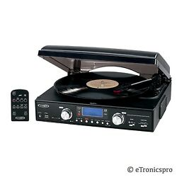 3-speed Turntable Record Player Convert Lp To Mp3 / Cd W/ Usb Sd Port New