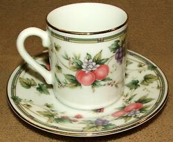 Andrea By Sadek Petite Tea Cup And Saucer Peaches Grapes And Blackberry Pattern