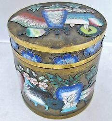 3.85 Antique Chinese Champleve Cloisonne Round Cigarette Or Trinket Box