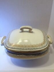 1940and039s Era Soup Sauce Covered Tureen Porcelain W/double Handle Detail