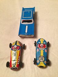 3 - Vintage Old Tin Car Lot Air Port Limousine And 2- Racing