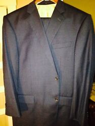 Handmade In England 100 Wool Tick Weave Suits 1 Gray 1 Blue With Custom Lining