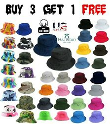 Bucket Hat Boonie Basic Hunting Fishing Outdoor Summer Cap Unisex 100% Cotton $8.74