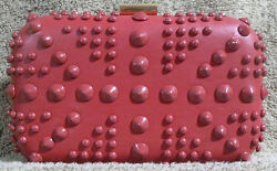 Red Fashion Clutch Evening bag Purse with Round Rockstar Studs and Clip Closure