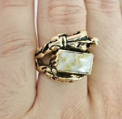 Native American 14k Gold Ring With Indian, Deer And Gold Quartz 21g, Size 11