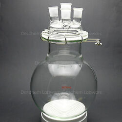 5000ml,glass Reaction Vessel,5l,24/29,4-neck,round Bottom Reactor,w/lid And Clamp