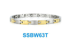 Skiny Silver And Gold - Women Magnetic Stainless Steel 316l Link Bracelet Ssbw63t