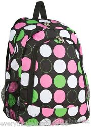 Personalized Backpack Book Bag Black Lime Pink Polka Dots Initial s or Name Free $39.99