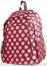 Personalized Backpack Book Bag Polka Dots Pink Brown Initial s Name Free 16x12quot; $39.99