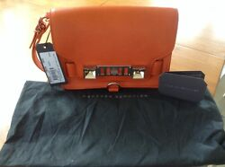 Proenza Schouler PS11 Wristlet Clutch Bag Orange Leather