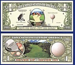1- Golf Dollar Bill Fore Bogey Collectible--novelty -- Fake -money--r1