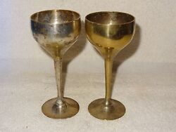 Vintage Pair Of Leonard Silver Co. Epns Silverplated Wine Goblets
