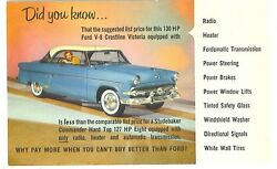 Nos 1954 Ford Promotional Post Cards Set Of 3 Different Cards