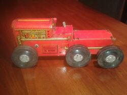 1940's Marx Wind-up Tin Climbing Tractor Bulldozer With Stakebed, Works