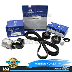 V-belt And Tensioner And Idler Pulley Kit For 2011-2014 Hyundai Kia 2.0l 2.4l⭐⭐⭐⭐⭐