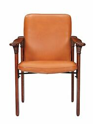 34 H Arm Chair Soft Brown Italian Leather Polished Exotic Wood Handmade Unique