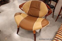 31 H Dining Chair White Brown Upholstered Italian Leather Polished Exotic Wood