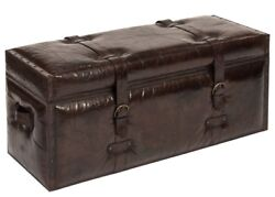 43 L Trunk Bench Top Grain Buffalo Leather Brass Iron Accents Antique Brown