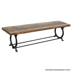 70 Lng Bench Black Iron Base Sold Reclaimed Wood Top Natural Tones Rustic Charm