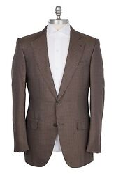Nwt Couture Silk Menand039s Sport Coat Light Brown/navy Houndstooth 38us/48eu